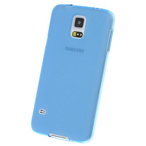 doupi PerfectFit Funda Compatible con Samsung Galaxy S5 (S5, S5 Duos, S5 Plus, S5 LTE, S5 Neo), Tapones de Polvo instalados TPU Ligero Estuche Protección, Azul