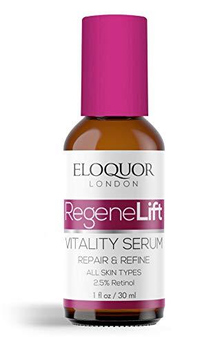 Eloquor RegeneLift Vitalidad Suero | Antienvejecimiento facial hidratante con retinol, ácido hialurónico y vitaminas para arrugas, líneas finas, acné y piel sensible | Natural orgánico y sin crueldad