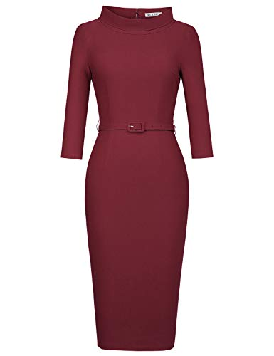 MUXXN Ladies 50s 60s Pinup Style Fitted Tunic Semi Formal Homecoming Dress (Merlot L)