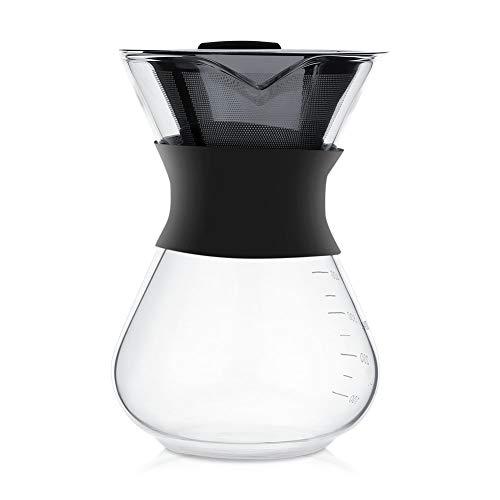 DEWIN Caffettiera - Caraffa di Vetro Macchina Manuale for caffè Americano con gocciolatoio Pentola di Vetro con Filtro in Acciaio Inossidabile