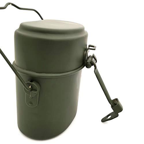 CHEJHUA Vert Militaire 3pcs dans 1 bivouacking Cookware Cook Set Set de randonnée Survie Bento Boîtes à Lunch Pot/Bol Boîte à déjeuner (Color : Green)