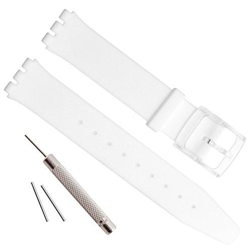 Ultradünne Swatch Ersatz 16 mm Uhrenarmband Wasserfest Silikon Gummi Watch Band weiß