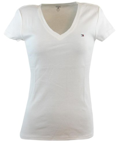 Tommy Hilfiger Womens V-Neck Solid Color Logo T-Shirt - S - White
