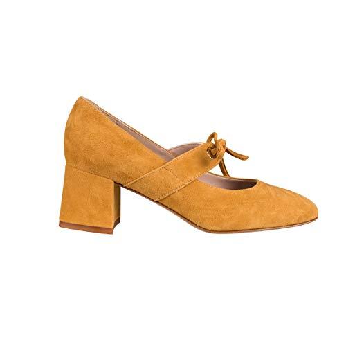 MZ MADE FOR PETITE – Zapatos de tacón Babies Giuline – Zapatos pequeños, Amarillo (mostaza), 35 EU