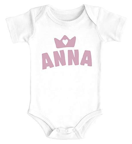 SpecialMe® Baby Body mit Namen personalisiert Krone Junge Mädchen Geschenk Kleinkind Bio-Baumwolle Mädchen weiß 3-6 Monate