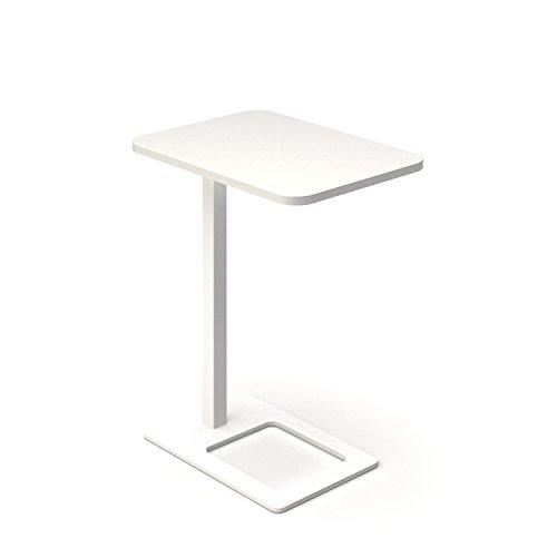 Mobiele bijzettafel MOBI 400 x 500 mm mobiele werktafel kantoor koffietafel opslagtafel wit