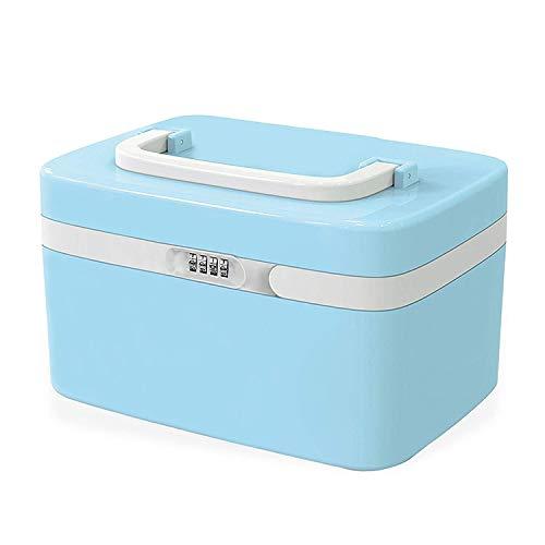 TSSS 8L Zahlenschloss Notfallkoffer Arzneischrank Hausapotheke Medikamentenbox Einfachen Beauty Case mit Vier Abteilen Schachteln(Blau)