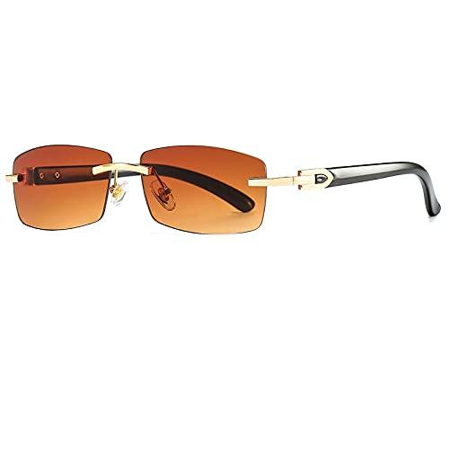 Gafas De Sol Gafas De Sol Cuadradas Sin Montura para Mujer, Nuevas Gafas De Sol Rectangulares De Moda para Hombre, Gafas Punk Retro, Gafas para Mujer, Tonos C4Gold-Brown