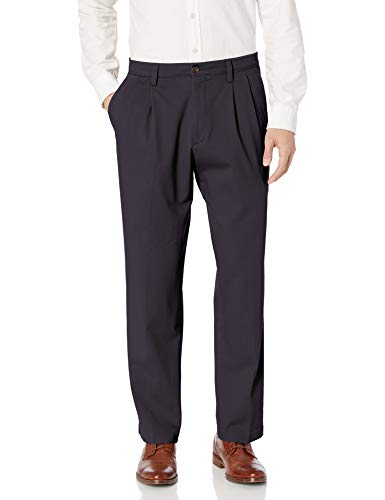 Dockers Men's Classic Fit Easy Khaki Pants - Pleated D3, Navy (Stretch), 36 30