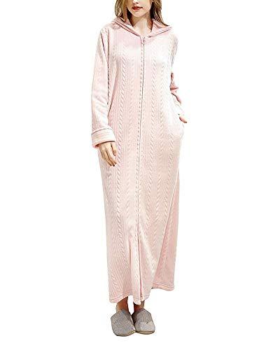 Bata y Albornoz para Hombre y Mujer,Franela Full-Length Plush Robe con Capucha y Cremallera Pink XL