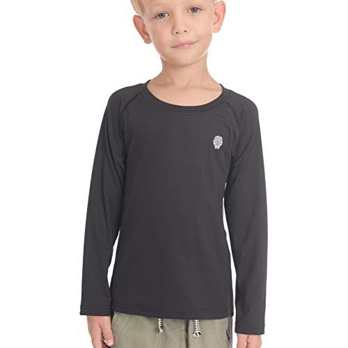 PIQIDIG Jungen Mädchen Langarm Shirts - Jugend Kompression T-Shirts Fußball Basketball Unterhemden Sport - Schwarz - Mittel
