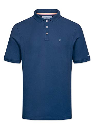 Colours & Sons Herren Polo Raphael - Reine Baumwolle, dunkelblau, Polokragen, Kontrastfarbe unter dem Kragen,XL