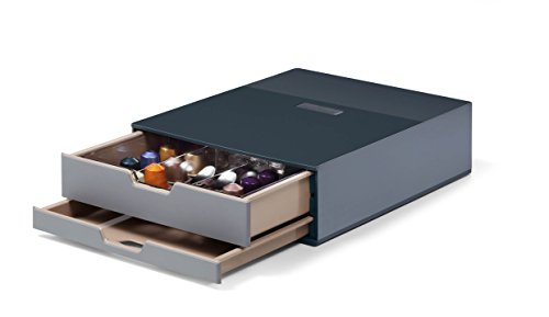 Durable 338358 Coffee Point Box S, Stazione Porta Capsule e Accessori, 2 Cassetti, Capacità 70 capsule, 280 x 95 x 356 mm, Carbone