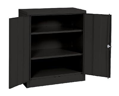 "Sandusky Lee RTA7001-09 Black Steel SnapIt Counter Height Cabinet, 2 Adjustable Shelves, 42""Height x 36"" Width x 18"" Depth"
