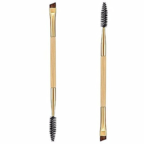 Grosses Soldes!!! LMMVP 1PCS Maquillage Bambou Poignée Double Sourcils Brosse + Peigne Sourcils (1PCS, Jaune)
