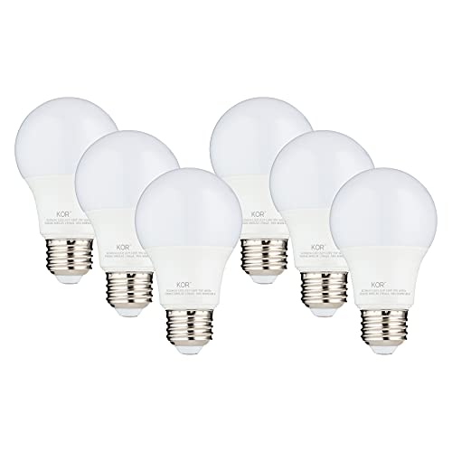 (6 PACK) KOR 9W LED A19 Light Bulb (60W Equivalent), UL Listed, 5000K (Bright White Daylight), 800 Lumens, Non-Dimmable, LED 9-Watt Standard Replacement Bulbs With E26 Base, 15000 Hours, Long Life