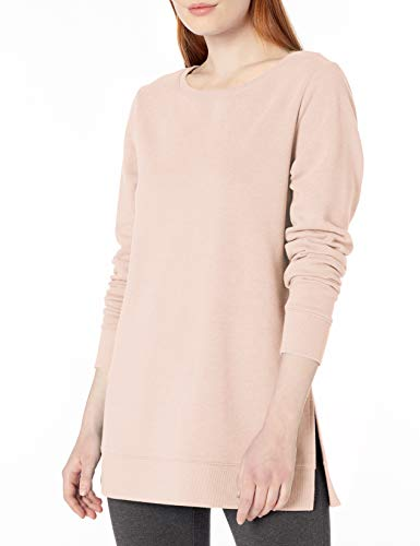 Amazon Essentials Women's Open-Neck French Terry Fleece Tunic, Light Pink, Large