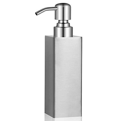 BabyElf Seifenspender Edelstahl, 250ml nachfüllbarer Seifenspender mit Pumpkopf für Flüssigseife, Lotion oder Spülmittel in klassischer silberner Farbe