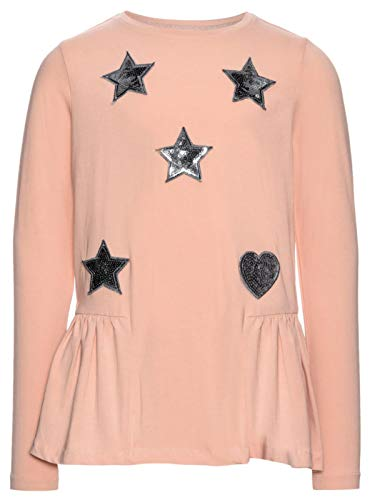 NAME IT trui met sterren en harten gebreide volant grootte 14 jaar roze kleur