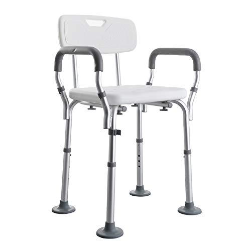VONOYA Sedia da Doccia Portatile Sgabello da Bagno in Alluminio con Schienale e Braccioli Panca da Doccia Regolabile da 5...