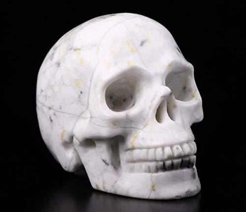 Skullis 2.0' Howlite Crystal Skull, Hand Carved Gemstone Fine Art Sculpture, Reiki Healing Stone Statue.