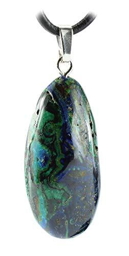 budawi® - Azurit-Malachit Anhänger 925er Silberöse mit Lederband, echter Azurit-Malachitstein