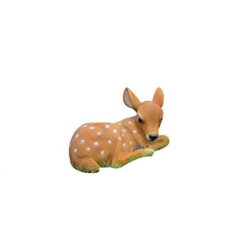 Yangyang Figuras de Animales Vívidas Artes de la Vida Real Estatua de Ciervo en Barbecho Escultura de Resina de Cervatillo Decoración de Jardín Adorno del Hogar,Head Down Deer