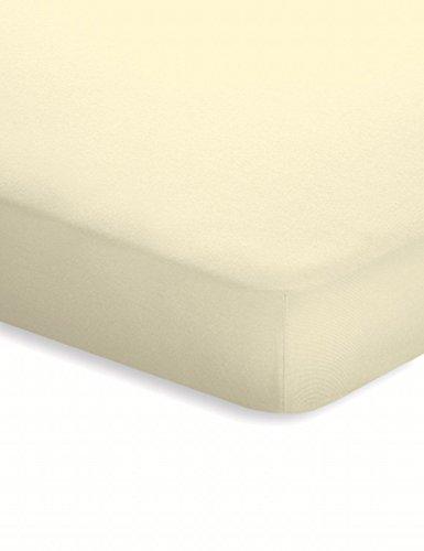 schlafgut Jersey-Elasthan Topper Spannbettlaken Basic Ecru, 180x200-200x220 cm