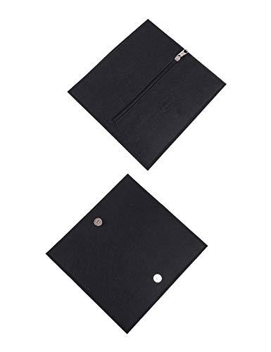RAIKOU Etui mapje pennenetui pennenmap vouwbaar vilt multifunctionele zakken vilten portemonnee geldtas schoolmapje sleuteltas tasje mobiele telefoon zwart