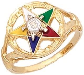 US Jewels And Gems Ladies 0.925 Sterling Silver or Vermeil Masonic Freemason Eastern Star Ring