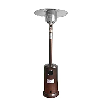46000 Btu Stainless Steel Patio Heater, Propane Patio Heater w/Wheels and Table, Large, Hammered Silver,Garden Treasures,Outdoor Table Top Heater W/Adjustable Thermostat, Suitable for Yard