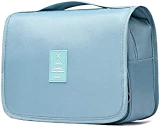 Toiletry Bag, Cosmetic Bag, Travel Makeup Case Essentials Storage Organizer for Women Men, with Hanging Hook, Blue