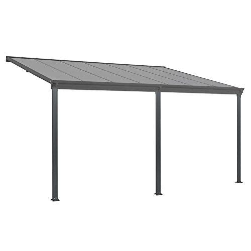 Juskys Aluminium Terrassendach Borneo 4×3 m dunkelgrau | Terrassenüberdachung mit Doppelsteg-Platten | Sonnenschutz Vordach