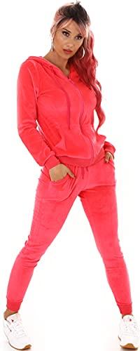 Jela London Damen Nicki Hausanzug Jogginganzug Velours Samt Jogginghose Freizeithose Kordel Tunnelzug Jacke, Neon-Pink 34 36 (S)