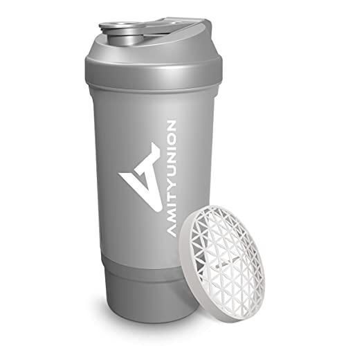 """Protein Shaker 700 ml """"FYRA"""" auslaufsicher - BPA frei mit Pulverfach & Sieb und Skala für cremige Whey Protein Shakes, Shaker Proteinshake, Eiweiß Shaker Becher für Bcaa und Gaming Booster in Silber"""