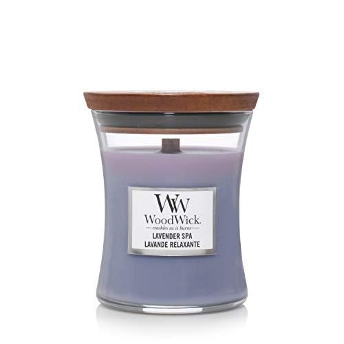Woodwick Hourglass Candela Profumata Media con Stoppino Scoppiettante, Acqua Termale, Fino A 60 Ore, Viola (Spa alla Lavanda), Medio