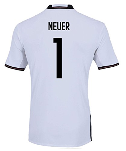 adidas Neuer #1 Germany Home Soccer Jersey Euro 2016 Youth. (YL) White