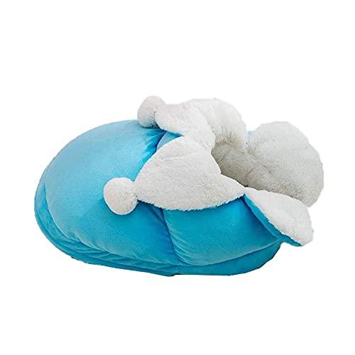 WWQQ Pet House - Cama semircerrada para mascotas (tela de felpa, antideslizante, extraíble para todos los gatos y perros pequeños)