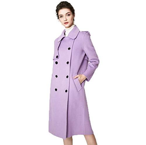 JBHURF Frauen Wollmantel warme Jacke klassischer zweireihiger Fleece High-End-Jacke Wollmantel Langer Mantel Straße Hipster Stil (Color : Purple, Size : XS)
