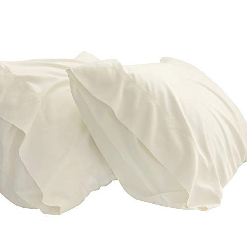 Bedsure Cream Cooling Bamboo Pillowcases Set of 2 - Breathable Cool Ultra Soft Pillow Cases - Viscose from Bamboo - Organic Natural Silky Material, Moisture Wicking(Ivory, Queen Size 20x30 inches)