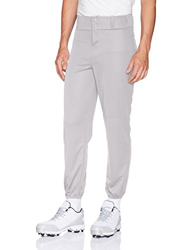 Alleson Athletic Men's Elastic Bottom Baseball Pants, Grey, Large