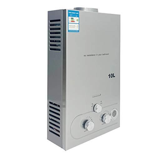 SUDEG LPG Tankless Warmwasserbereiter, 10L/ min 20 kW Tankless Instant Boiler Digitalanzeige mit Beschichtung Duschkopf Kit Wandmontage Warmwasserbereiter Instant Bath Silber