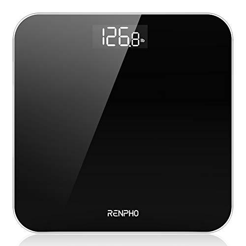 Báscula De Baño Digital RENPHO, Báscula De Peso Corporal De Alta Precisión Con Pantalla Iluminada, Tecnología Step-On, 400 Lb, Negro
