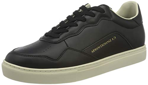 ARMANI EXCHANGE Simple Action Leather Sneakers, Scarpe da Ginnastica Uomo, Black Germany, 44 EU