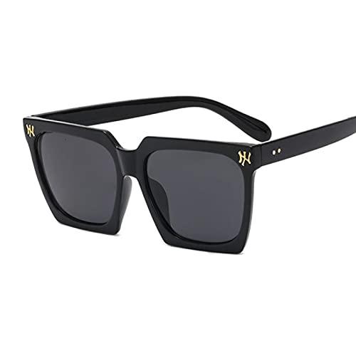 Moda plástico marco grande cuadrado ojo de gato gafas de sol retro tendencia sombrilla gafas mujer negro gris