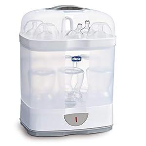 Chicco SterilNatural Esterilizador de Biberones 2 en 1, Esterilizador Natural de Vapor con 2 Configuraciones, Rápido y Fácil de Usar, Hasta 6 Biberones de 330 ml o Chupetes, Color Blanco