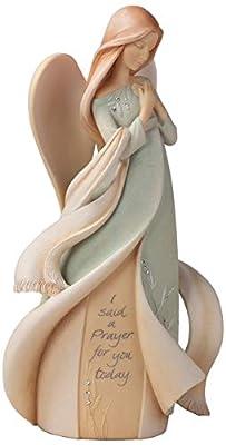 "Foundations Prayer Angel Stone Resin Figurine, 9"""