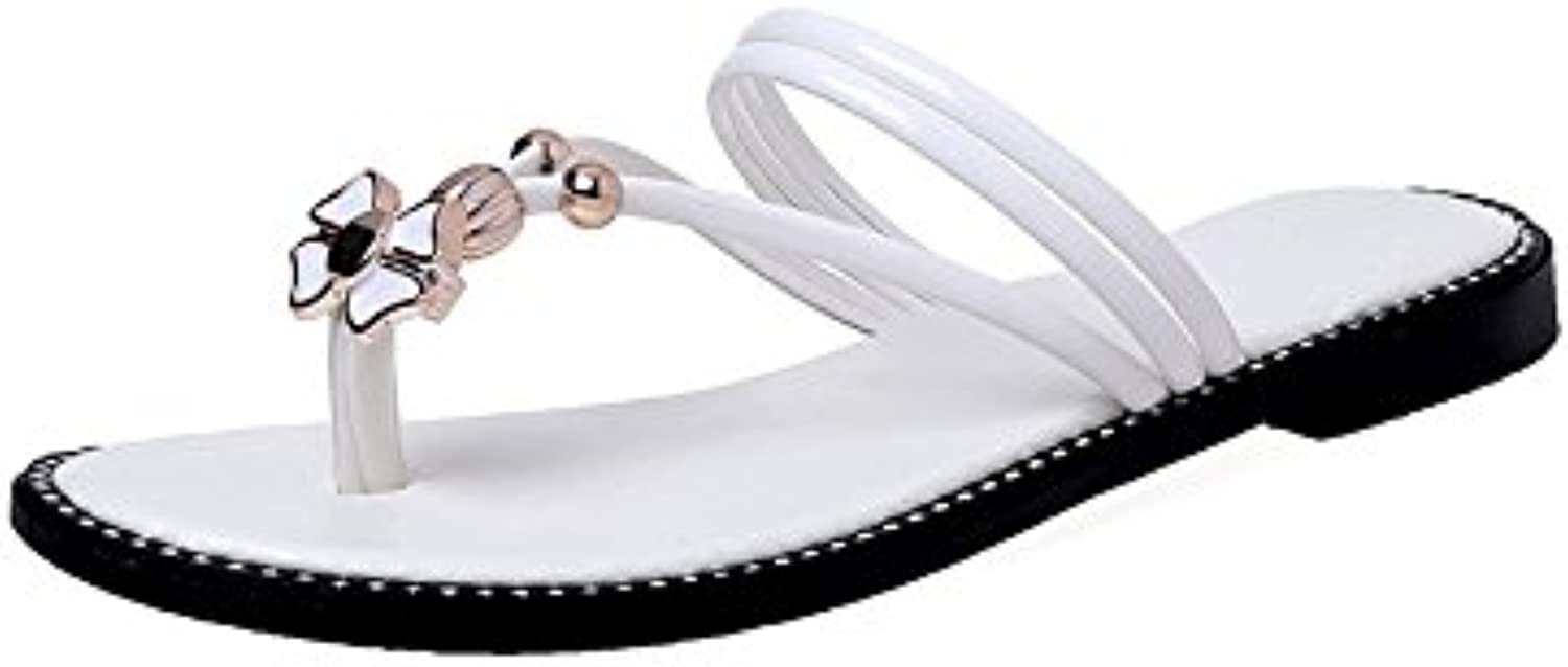 WYMBS Women's Slippers & Flip-Flops Summer Light Soles Leatherette Dress Casual Chunky Heel Rhinestone Walking,white,36