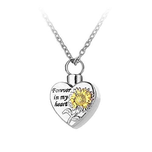 Rotating Spins Necklace Memorial Sunflower Whirligig Necklace for Women Girls Sunflower Urn Necklaces for Ashes