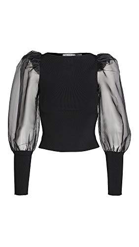 Alice + Olivia Women's Abella Puff Sleeve Boatneck Sweater, Black/Black, Large